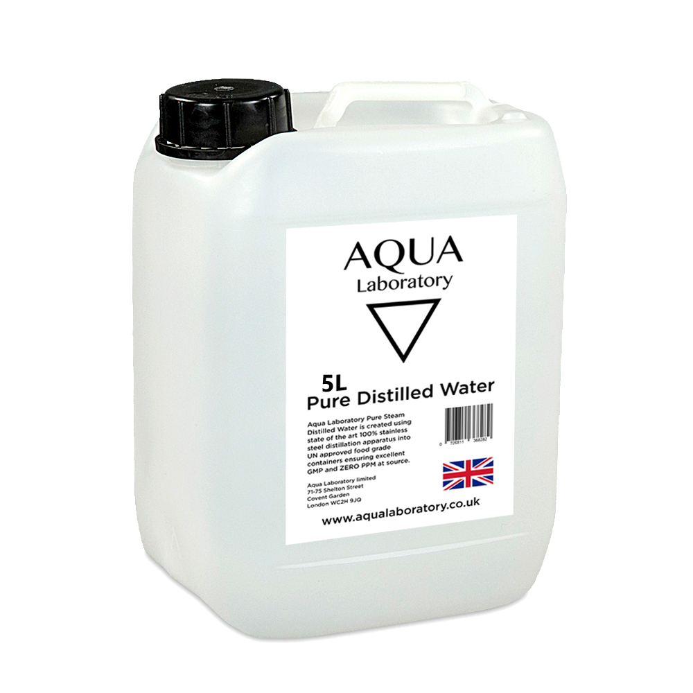 AQUA LABORATORY Pure Steam Distilled Water (5 Litres) - Food grade pure water