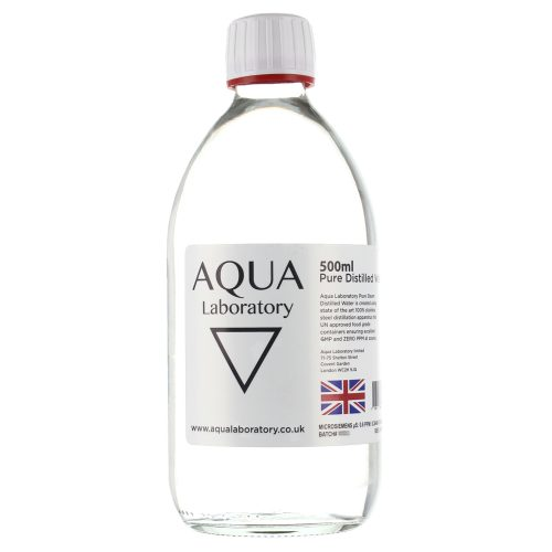 Aqua Laboratory 0.0 PPM Pure Steam Distilled Water (1X 500ML in Glass Bottle)
